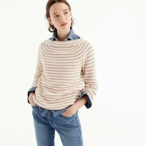J. Crew Striped Relaxed Boatneck Cotton Sweater